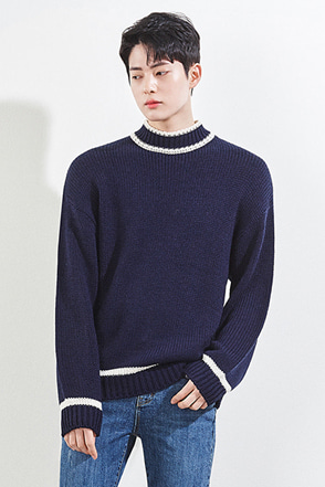 Contrast Strip Accent Sweater