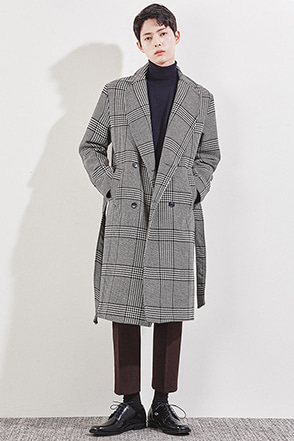 Double-Breasted Check Coat
