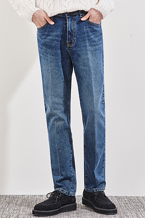 Whiskered Straight Leg Jeans
