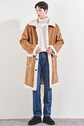 Fluffy Lining Synthetic Leather Coat