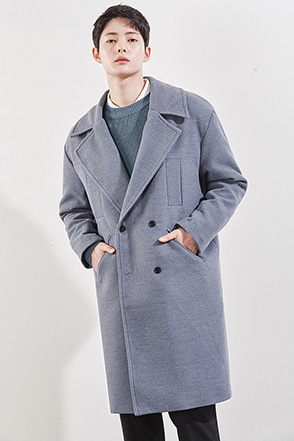Wide Collar Wool Blend Coat
