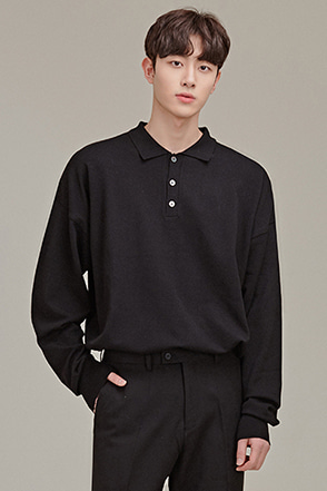 Drop Shoulder Long Sleeve Polo Shirt