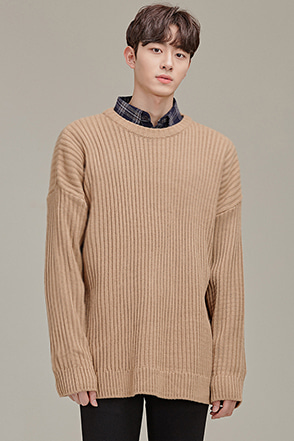 Dropped Shoulder Rib Knit Sweater