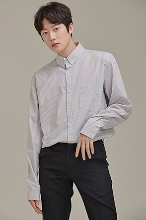 Button-Down Collar Striped Shirt