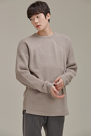 Ribbed Panel Raglan Sweater