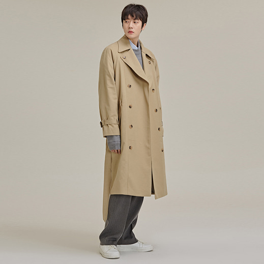 Buttoned Lapel Double-Breasted Coat