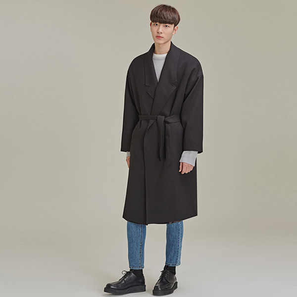 Notched Collar Belted Coat