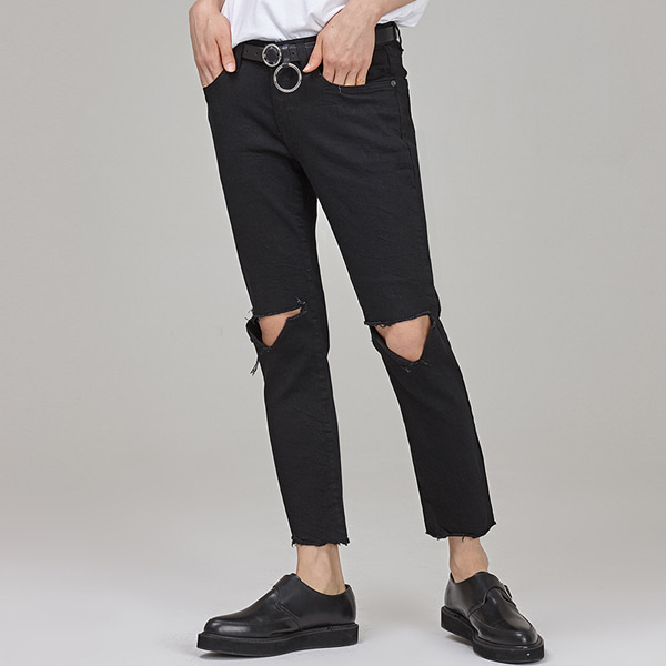 Ripped Knee Ankle Grazer Pants