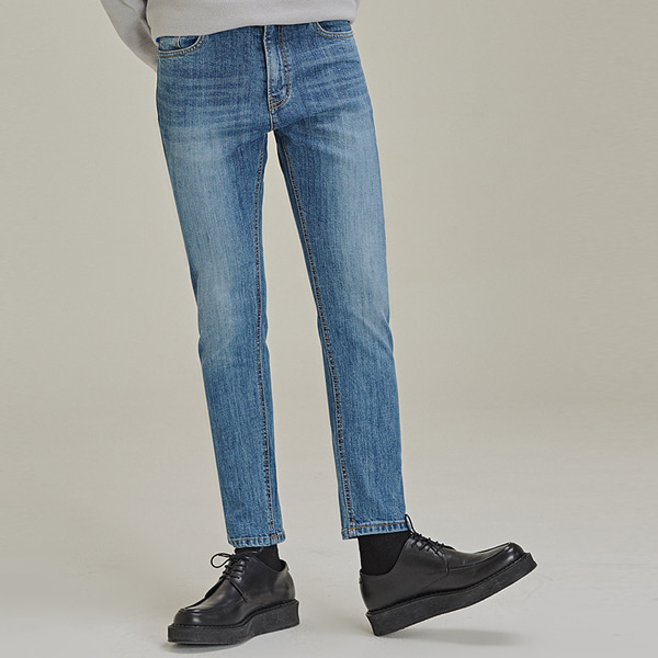 Whiskered Slim Fit Jeans