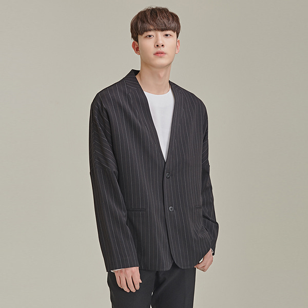Collar-Like Seam Striped Jacket