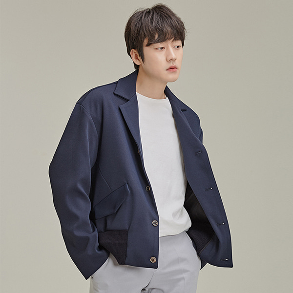 Banded Hem Notched Collar Jacket