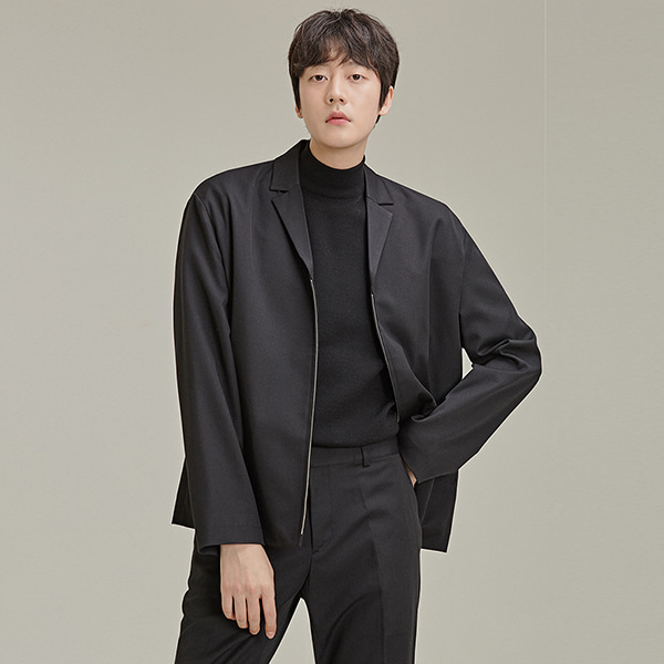 Notched Collar Zip-Up Jacket