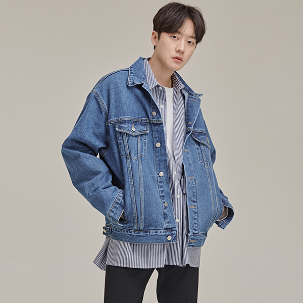 Buttoned Hem Tab Denim Jacket