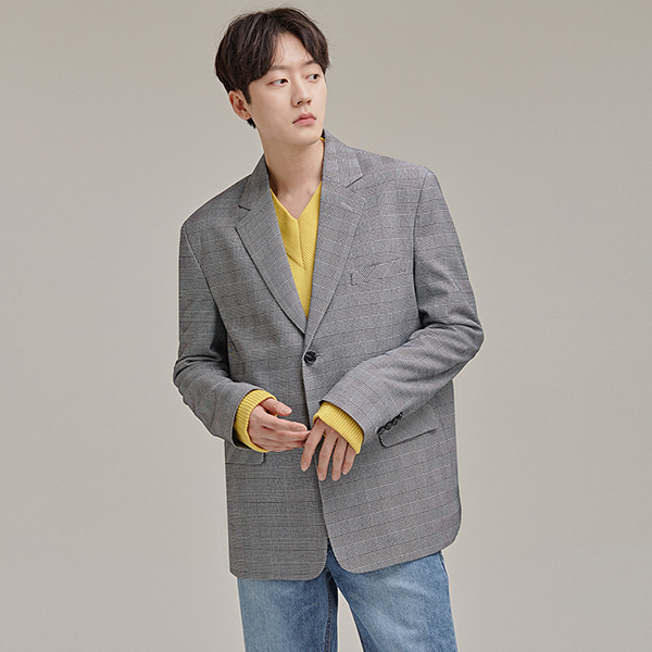 Two-Button Check Lapel Jacket
