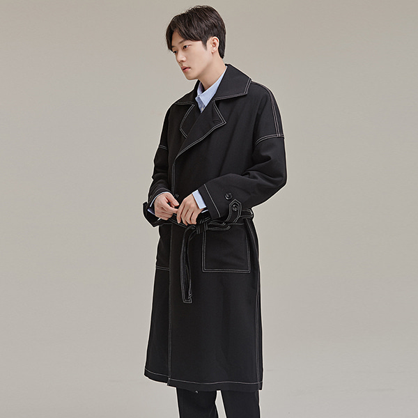 Contrast Stitch Double-Breasted Coat